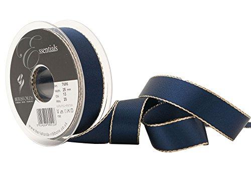 Nastro Berisfords, 25 mm, poliestere, nastro di raso con bordo oro, filato, Marina
