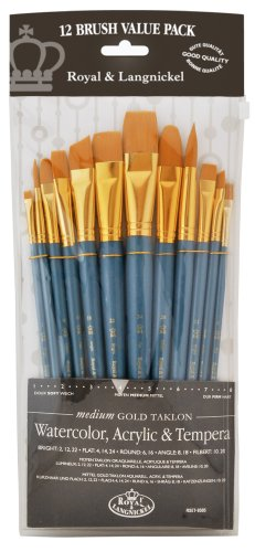 Royal & Langnickel RSET-9305 - Medium Gold Taklon 12-teiliges Pinsel Set gemischt