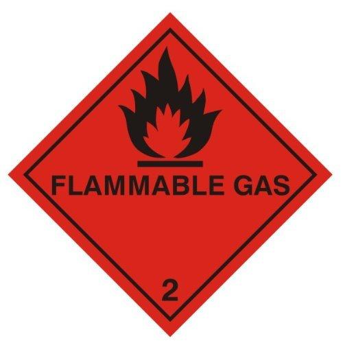 Warnzeichen - Klasse entflammbarer Gas ' 2 Fuß (Diamant) Aufkleber 100 x 100 mm