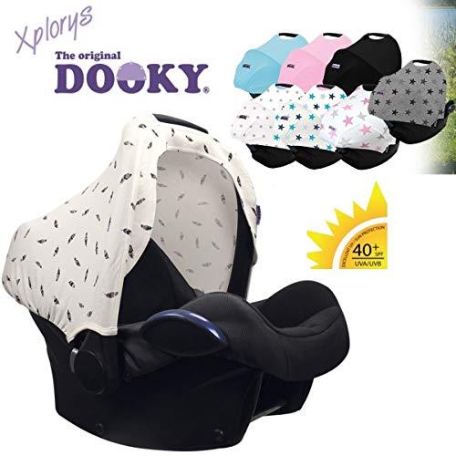 DOOKY HOODY Style UV+ Universal Verdeck für Maxi Cosi Cabrio/CabrioFix/Pebble/Citi, Römer und andere Babyschalen Gruppe 0+ als Sonnenschutz/Sonnenverdeck/RegenSchutz (Black Feather)