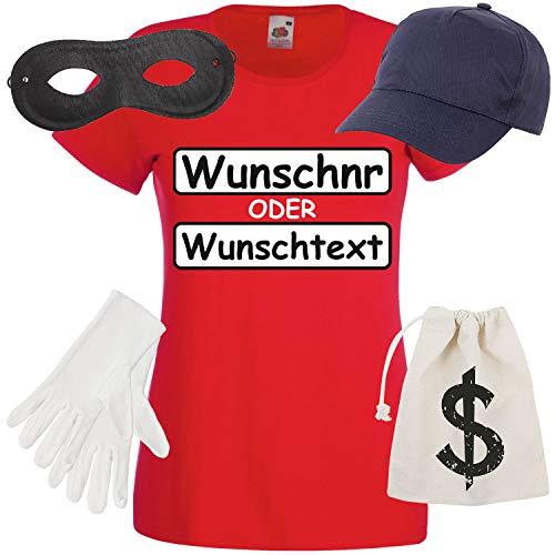 Shirt-Panda Damen T-Shirt Panzerknacker Kostüm + Cap + Maske + Handschuhe Verkleidung Karneval SET16 T-Shirt/WN/Cap/Maske/Handschuhe/Beutel ()