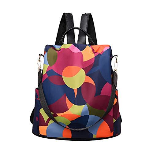 HROIJSL Frauen Wilder Reiserucksack bunter Oxford Stoff Studenten Taschen Rucksack Rucksack Schultaschen Schulrucksäcke Daypack Große Kapazität Rucksack für Reise Wandern Outdoor Einkaufen