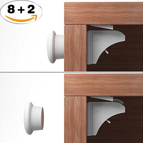 Unsichtbarer Kindersicherheit Sicherheitsschloss 8 Magnet Schlösser und 2 Schlüssel, Installation Nr Werkzeuge Benötigt - 8+2 Magnetisches Sicherheitsschloss für Schränke und Schubladen (Lock-große Schublade-schrank)