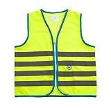 Wowow Fun-Warnweste für Kinder, Grün fluoreszierend, Größe S (4-6 J.)