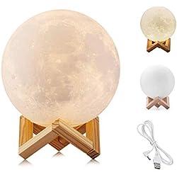 Lampara luna 8CM 2 colores Control táctil regalo original dia de la madre (Luz de luna 2 colores, 8CM)