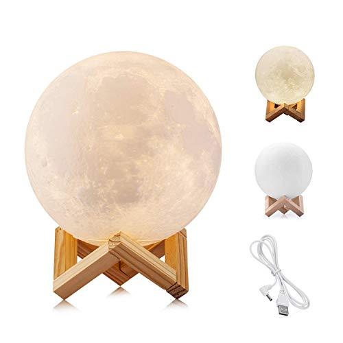 WYCY 3D lampara luna 8CM 2 colores Control táctil luna lampara de buro lampara de lava Con interfaz de carga USB lámpara luna (Luz de luna 2 colores, 8CM)