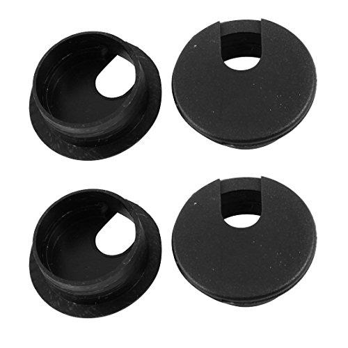 Schwarz Schreibtisch Tülle (sourcingmap® Schreibtisch Computer runden schwarzen Kabel Tülle Loch Cover 35mm 4Pcs)