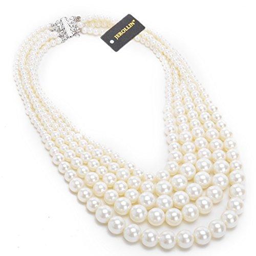 Jerollin-Damen-schoene-Perlen-Kette-Outfit-Kragenkette-Abendkette-Halskette-Statement-Collier-vintage-Kette-Bib-Necklace-Multistrand-Strandkette