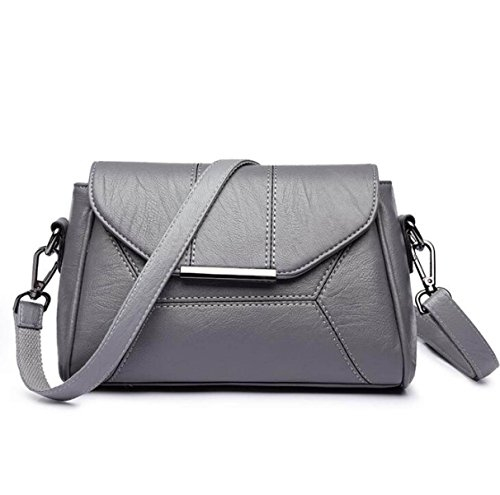 Frauen PU Leder Schultertasche Einfache Einfarbig Damen Diagonal Paket Mode Kleine Handtaschen Lightgray