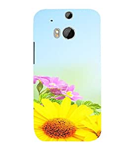 PrintVisa Flower Design 3D Hard Polycarbonate Designer Back Case Cover for HTC One M8
