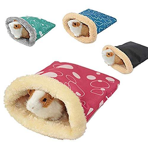 Leisial. Saco de Dormir de Hámster Felpa Caliente para Cerdo, Gato Cobaya Erizo Mascotas Pequeñas Accesorios de Cama Invierno(Color al Azar