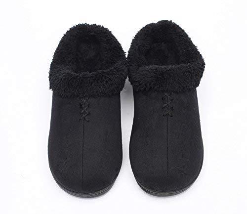 Ofoot da Donna Caldo Clog Pantofole, Memory Foam Indoor/Outdoor Suola in Gomma con Fondo Rigido con Posteriore per Donne, Nero (Nero), 37 EU
