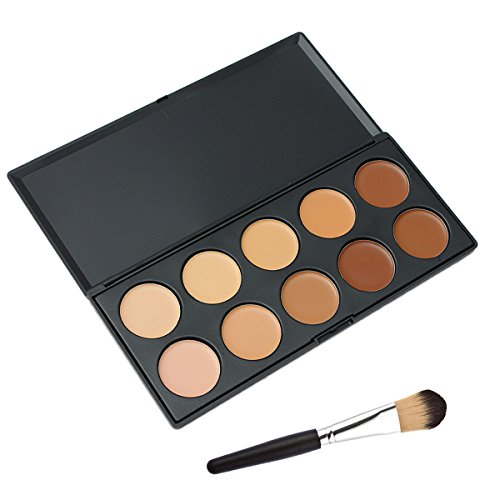 Vococal® Palette de Maquillage Visage Cosmétiques Anti-Cernes et 1 Pcs Brosse Maquillage Kit Set