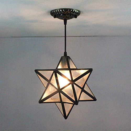 Yuany 8-Zoll-European Pastoral Star Rays Tiffany Pendelleuchte Deckenveranda Lampe