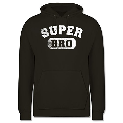 Bruder & Onkel - Super Bro - Vintage-&Collegestil - Herren Hoodie Olivgrün