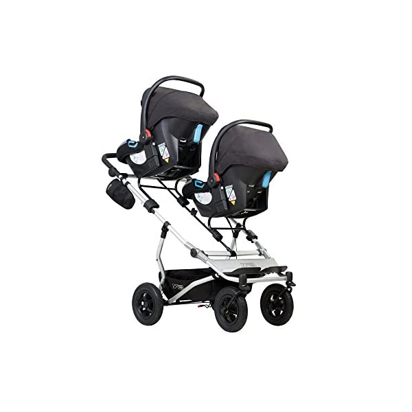 "Mountain Buggy Duet v3 Double Stroller - Marine Mountain Buggy With a wheelbase width of just 63cm/25"": duet is the same width as a single buggy: and fits seamlessly through doorways Hand operated control brake for slowing down: providing additional confidence and superior handling when pushing the extra weight of two Superior compact one hand fold: with automatic frame lock and stand fold 5"
