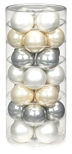 Inge-glas 15181D002 mO-s Boule a Winter'- Tail-Mix Lot de 28 Boules de décoration 45 mm (Blanc Opale Mat/Champagne/Gris Perle
