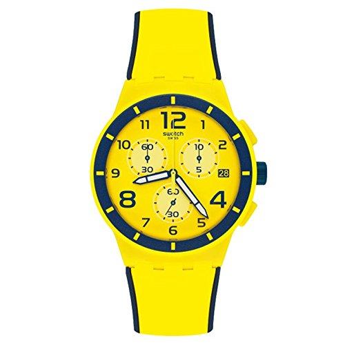 Swatch Herren Chrono Kunststoff susj401gelb Silikon Quarz Armbanduhr