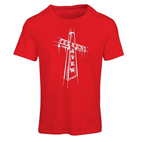 Frauen T-Shirt Jesus rettet Dich - christliche Religion Glaube Kleidung - Ostern, Auferstehung, Geburt Christi, religiöses Geschenk (XX-Large Rot Mehrfarben) - Bücher Fitted T-shirt