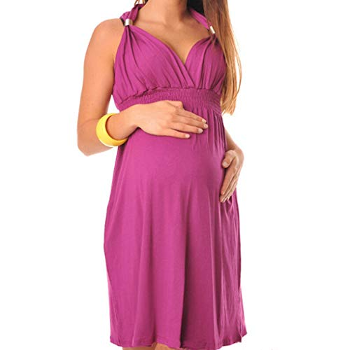 e Frauen Kleid V-Ausschnitt hängen Hals ärmellose Weste Schwangere Frauen langes Kleid elastische hohe Taille Taille Minirock einfarbig ()