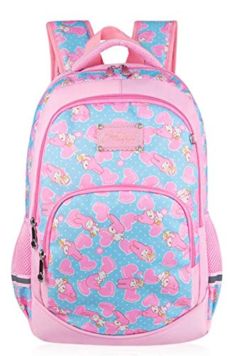 Medium Pink School Bags for Teenager Girls Cute Princess Casual Travel Daypack Print Student Backpack Schoolbag for Kids Pupil Blue B