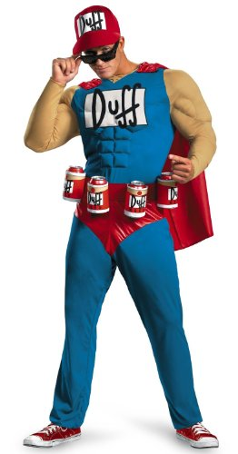 Duffman Kostüm Simpsons - Duffman The Simpsons Deluxe Adult Muscle Costume-Adult XL