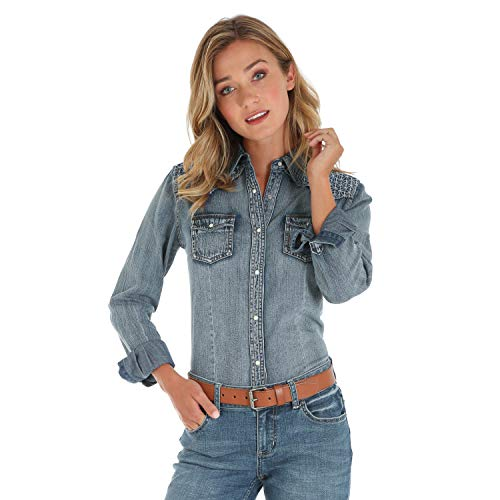 Denim Western-snap (Wrangler Damen Long Sleeve Western Fashion Snap Shirt Hemd, Denim Stitch, Groß)