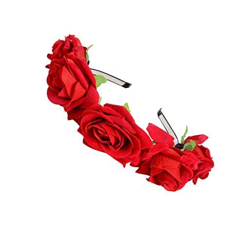 FORLADY Rose Flower Ring Hoop Beach Holiday accesorios de disparo floral de la flor diadema Crown Garland - guirnalda de flores ajustable para mujeres niñas Festival de vacaciones