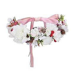 AWAYTR Blumenkrone Blumen stirnband Haarkranz - Hochzeit Girlande Krone Exquisit Tannenzapfen Beere Kranz Boho Festival Blumen Stirnband (Weiß)