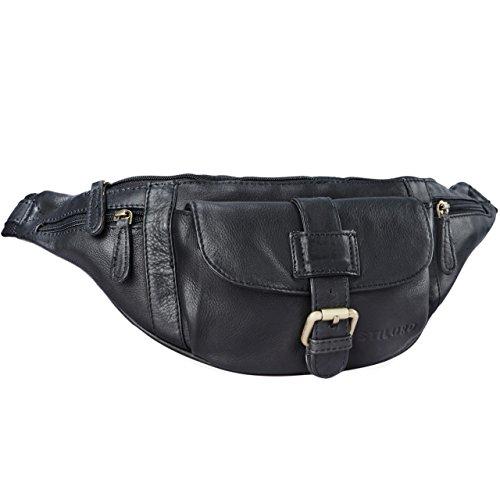 STILORD 'Sam' Vintage Riñonera de piel bolso de cadera hombres mujeres para fiesta festival deporte viaje de cuero auténtico , Color:negro