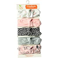 Yoga Sprout Baby Girls' Cotton Headbands, Feather Floral 5 Pack, 0-24 Months