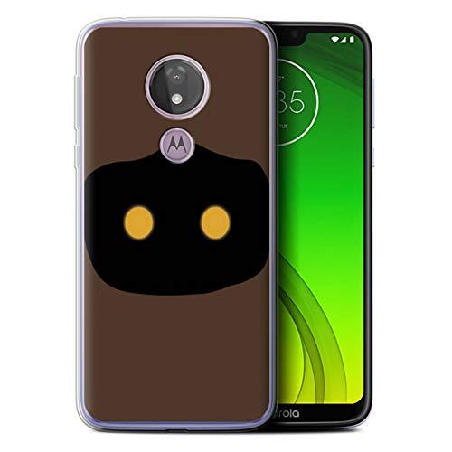 eSwish Gel TPU Hülle/Case für Motorola Moto G7 Power/Jawa Kunst Inspiriert Muster/Nette Sci-Fi Gesichter Kollektion