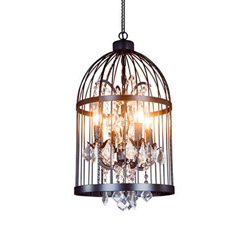 MEGSYL Kreative Kristallbirdcage-Leuchter, amerikanische Retro- nostalgische Eisenleuchter, industrielle Artlampe des personalisierten Treppenkleidungs-Bekleidungsgeschäftes - Medallion-deckenventilator