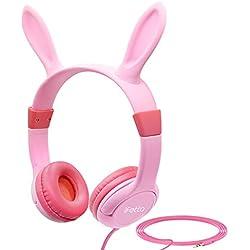 iFecco Auriculares infantiles con orejas de conejito