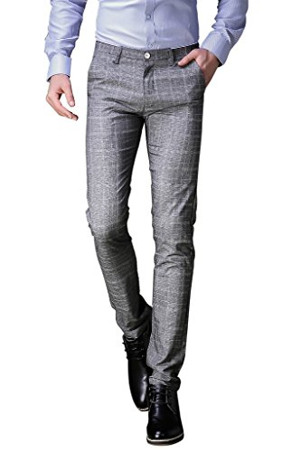 Pantaloni elegante da uomo, slim fit, perfetto per business / festa / cerimonia, grigio a quadri, 30