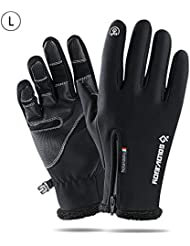 Riosupply Unisex Warm Windproof Waterproof Gloves Touch Screen Non-Slip Gloves for Outdoor Sports Running Cycling Hiking Riding