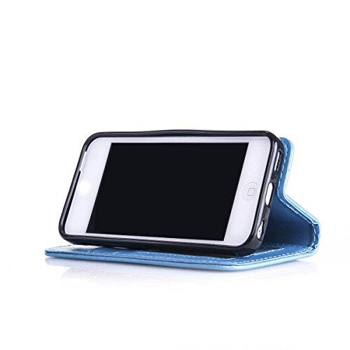 iPhone 5C Coque, 5C Coque, Lifeturt [ Rouge ] Coque Dragonne Portefeuille PU Cuir Etui en Cuir Folio Housse, Leather Case Wallet Flip Protective Cover Protector, Etui de Protection PU Cuir Portefeuill E02-Bleu