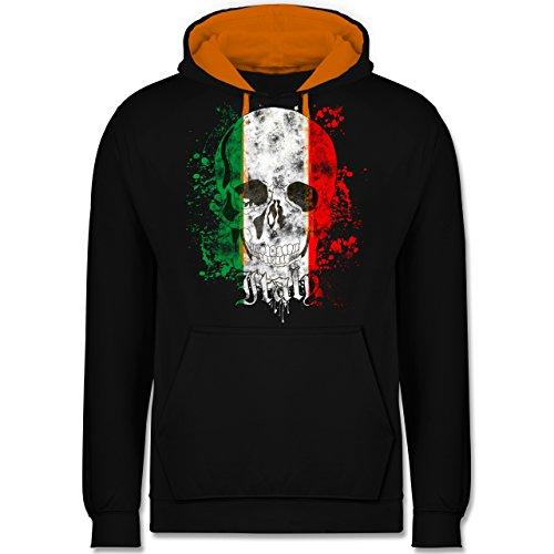 Länder - Italy Schädel Vintage - Kontrast Hoodie Schwarz/Orange