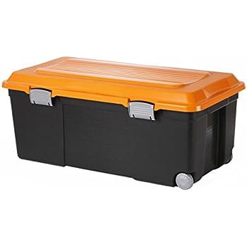 Sundis 7682024 Camper Coffre de Rangement Plastique Noir/Orange 75 L