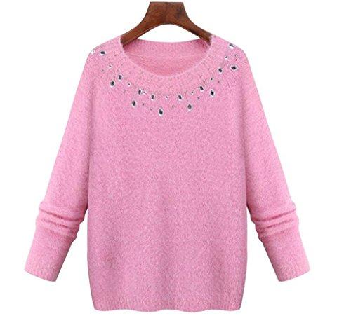 diamant hemd grundiert frauen pullover beiläufige knit rundhalsausschnitt hemd hohl bluse pullover lose tops langarm kurzschluss mantel sportbekleidung schlank solid color . pink . (Kaninchen Kostüm Tumblr)