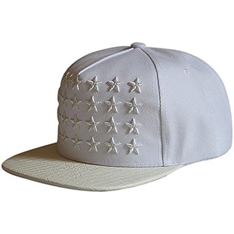Casquillo de la estrella de béisbol,Longra Baile Hip Hop Hip Hop plana sombrero (Blanco)