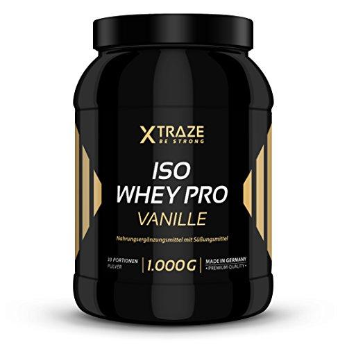 ISO Whey Protein Vanille Pulver 1kg Eiweiß-Molkenprotein-Isolat 94,3% 1000g mit BCAA Qualität aus Deutschland - ohne Zusatzstoffe wie Aspartam - für Kraftsport | Bodybuilding | Fitness | Diät
