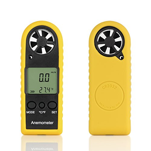 Proster Digitales Anemometer Windmessgerät mit LCD Bildschirm und Thermometer für Windsurfen Segeln Wandern und Andere Aktivitäten im Freien