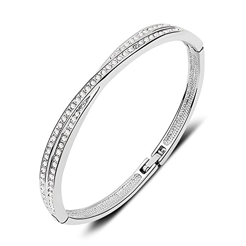 7 Ounces Bangle Bracelet with Clear SWAROVSKI Elements Crystal 18ct White Gold Plated Ladies Jewellery for Wedding/Birthday Diam:5.8cm