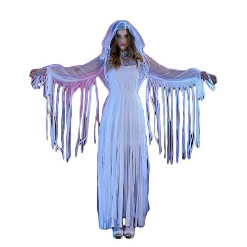 SHENyif Damen Halloween Kostüm Terror Queen Langer Rock Geisterbraut Teufel Königin Cosplay Hexe Zombie Kostüm Halloween Karneval Nacht (Color : White, Size : One Size)