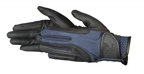 PFIFF Damen elastischer Reithandschuhe Handschuhe, schwarz/Blau, S