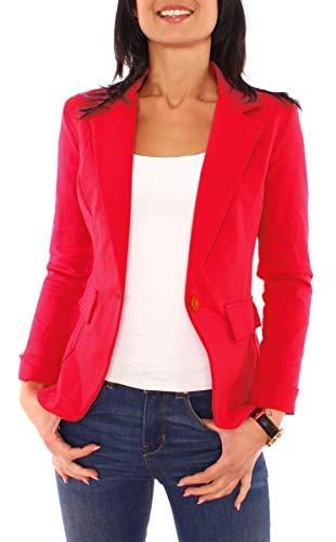 Easy Young Fashion Damen Sommer Sweat Jersey Blazer Jacke Sweatblazer Jerseyblazer Sakko Kurz Gefüttert Langarm Uni Einfarbig Rot XS - 34 (S)