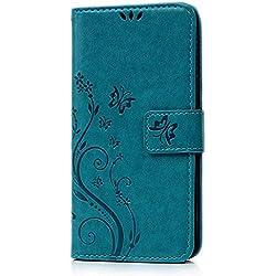 Coque HTC Desire 626 Etui Protection Cuir Portefeuille PU Housse Accessoire Antichoc Étui Magnétique avec Silicone Transparente TPU Case Flip Cover pour HTC Desire 626 - Papillon et Fleur Pei