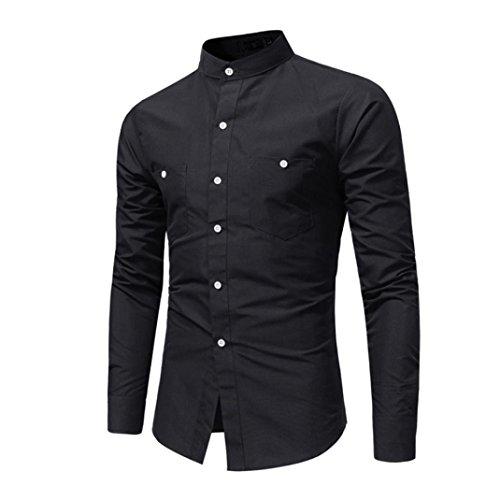 Oliviavan,camicia da uomo con collo alto e collo alto a maniche lunghe da uomo uomo maglietta manica lunga asciutto stile classico