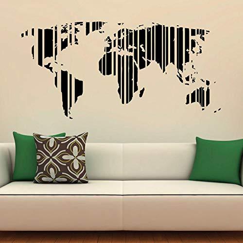 HNXDP Weltkarte Wandaufkleber Vinyl Kunst Wohnkultur Wohnzimmer Innenarchitektur Globale Karte Büro Abziehbilder Removable Murals Sky Blue 86x42 cm - Chanel Gepäck